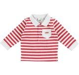 4U038 ido rood met wit gestreepte polo lange mouw, maat 56, maat 62, maat 68
