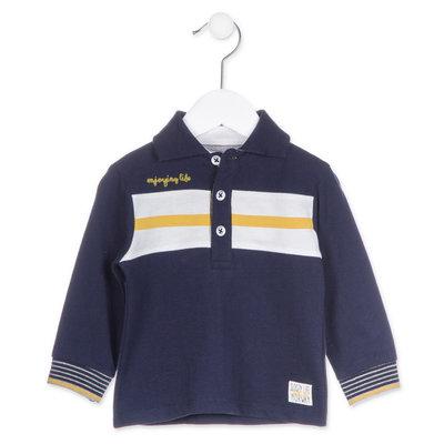 Blauw met gele jongenspolo Losan maat 68, 74