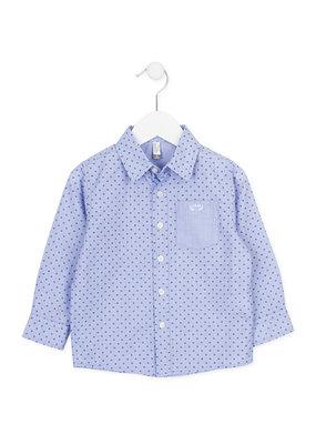 Lichtblauwe blouse met elleboogstukken maat 116