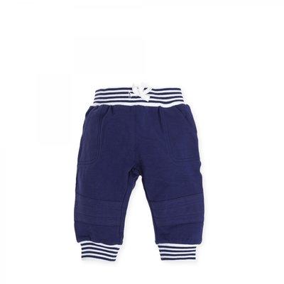 Blauw broekje met streep boordje Tutto Piccolo maat 62 en 68