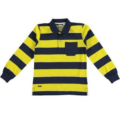 Blauw met geel gestreepte jongenspolo iDo maat 152, 164 en 176