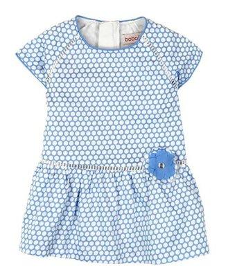 Lichtblauw met wit jurkje Boboli maat 68, 74, 80, 92 en 98