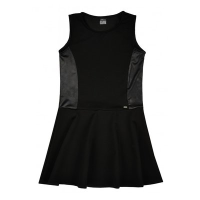 Zwart jurkje met lederlook maat 128