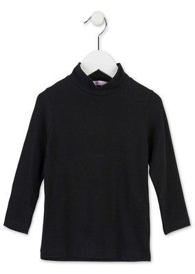 Basisshirt zwart met col maat 98,110 en 122