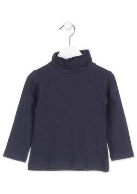 Basisshirt blauw met col maat 104 en 110