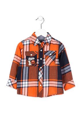 Oranje geruit overhemd jongens maat 104-116