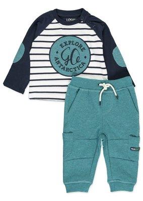 Blauw gestreept shirt met groene details maat 68-80