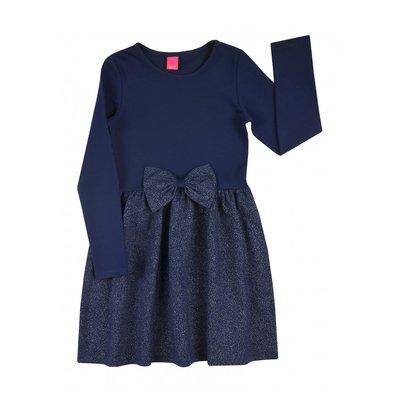 Blauwe meisjesjurk met strik