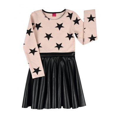 Roze jurk met leatherlook rok