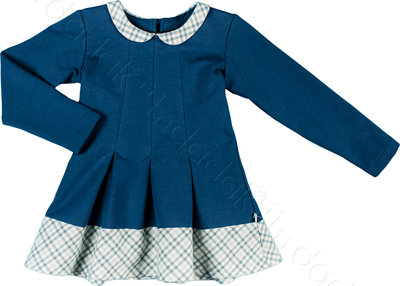 Blauw jurkje met kraagje maat 80