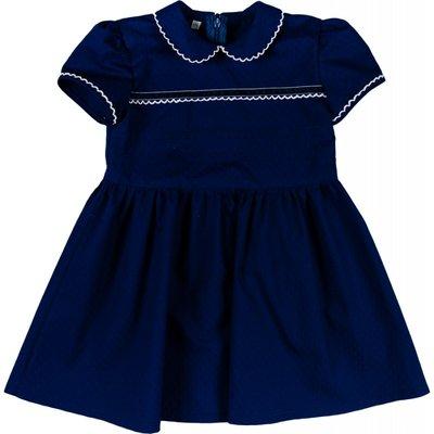 Donkerblauwe meisjesjurk met wit stiksel maat 86 en 92