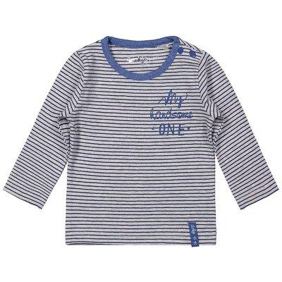 Blauw  met grijs gestreept shirtje Dirkje maat 56