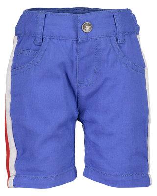 Blauw kort broekje met rood/wit streep maat 62,-86