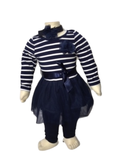 Blauwe gestreept jurkje maat 56