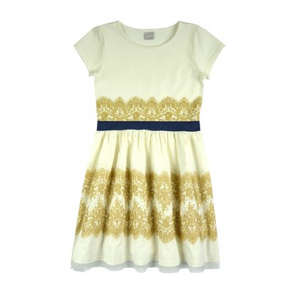 Créme jurk met gouden opdruk maat  128-152