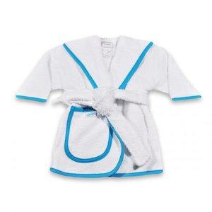 Badjas maat 80, 86 en 92 funnies wit met aquablauw jongens