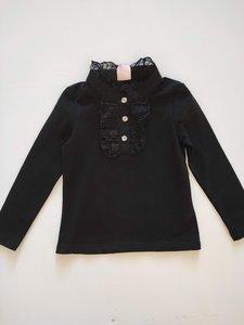 ZM5040 zwart shirt met kanten kraag maat 92 98