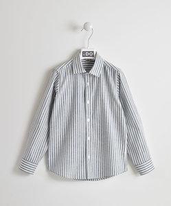 4W383 ido overhemd wit met blauw gestreept maat 122