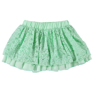 4U759 iDo groen mint rokje kant tule elastiek zomerrokje maat 92, 98
