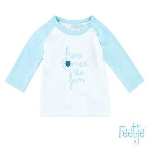 51600998 feetje wit lichtblauw lange mouw shirt jongens maat 50 babykleding