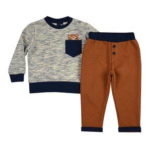 terra roestbruin broekje met trui baby jongens maat 74