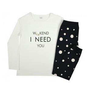 Ecru pyjama meisjes zomer winter lange mouw zwarte broek maat 152, 158, 164, 176,