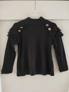 Basisshirt met col zwart gouden knopen
