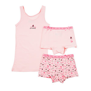 Roze oranje ondergoed meisjes hemdje met broekje prinsessen