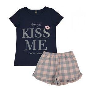 shortama tieners meisje alway kiss me goodnigt, rozezelrandje, donkerblauw, klassiek, romantisch, donkerblauw, lichtgrijs, maat