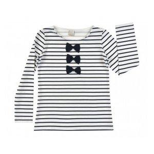 Wit met blauw gestreept shirt met strikjes 104 en 122