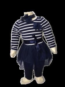 Blauw gestreept jurkje met tule