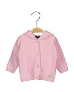 Lief roze babyvestje met beren oortjes maat 56 62 68