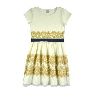 Creme jurk met gouden opdruk maat 28, 134, 140, 146