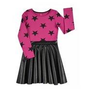 Fuchsia met leatherlook jurk